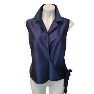 📁 Kate Hill Blue Silk Crossover Top Plus Size 16